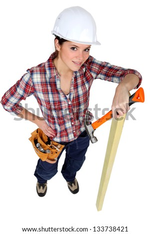 Female carpenter.
