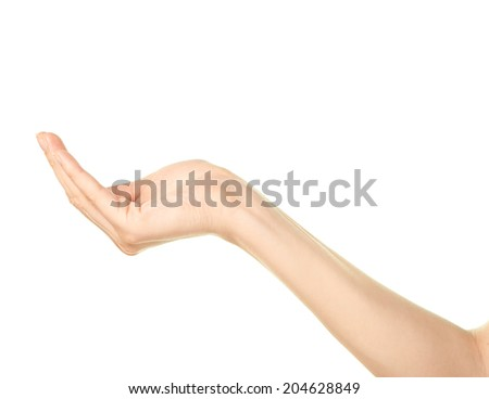 Female caucasian copyspace hand gesture of an opened, slightly bent, holding something palm isolated over the white background