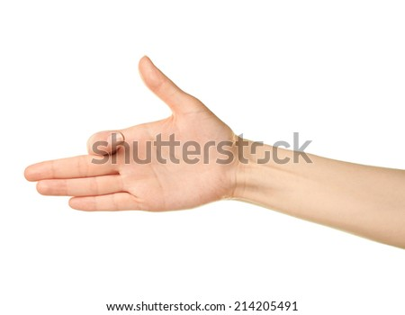 Female caucasian hand gesture isolated over the white background - stock photo