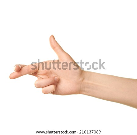 Female caucasian hand gesture of a two crossed for luck fingers isolated over the white background - stock photo