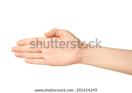Female caucasian hand gesture of an opened palm isolated over the white background - stock photo