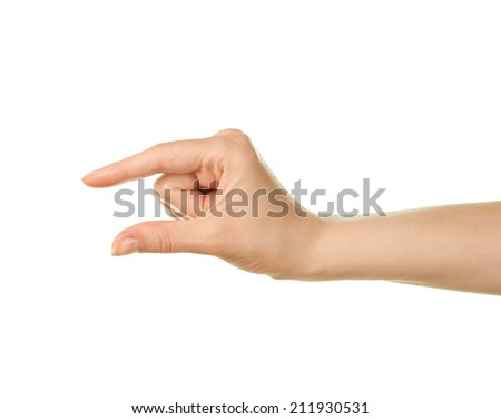 Female caucasian hand gesture of showing the small size with two fingers, isolated over the white background - stock photo