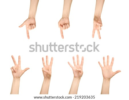 Female caucasian hand number gestures, one to five, isolated over the white background, set of six images - stock photo