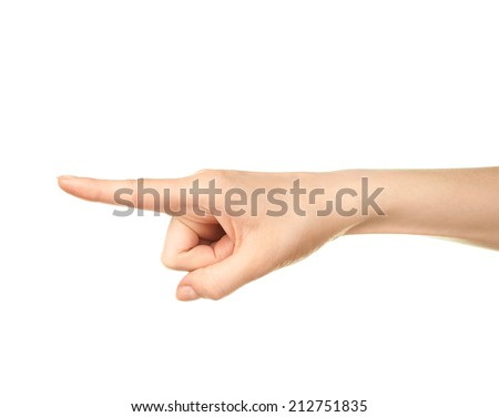 Female caucasian hand pointing gesture of an index finger isolated over the white background - stock photo