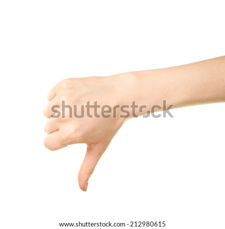Female caucasian thumbs down hand gesture isolated over the white background - stock photo