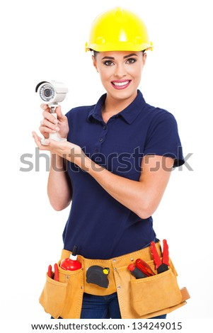 female cctv installer holding security camera isolated on white - stock photo