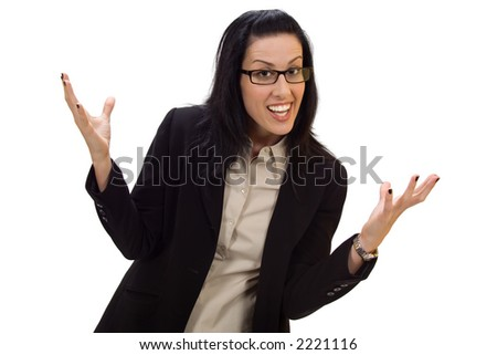 Female cheering holding up hands - stock photo