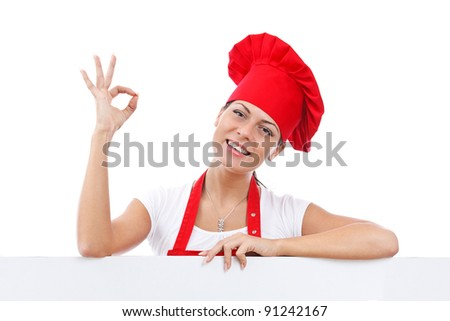 female chef giving delicious hand sign - stock photo
