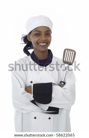 Female chef in work uniform with cooking utensil isolated on white - stock photo