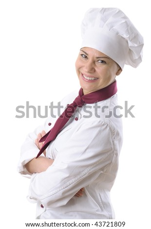 female chef isolated over white - stock photo