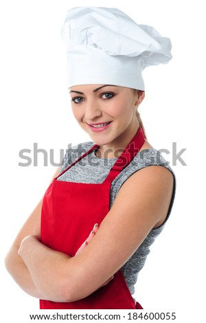 Female chef posing with confidence - stock photo