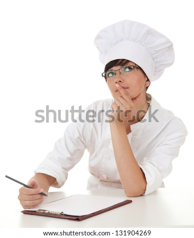 female chef thinking, looking up, white background