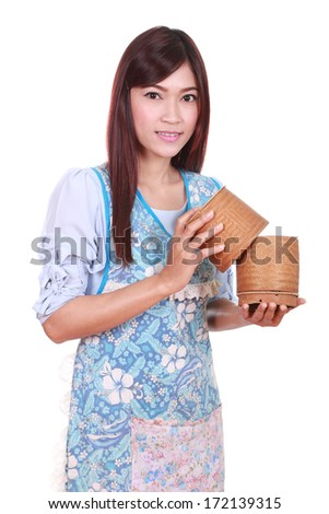 female chef with bamboo rice box isolated on white background