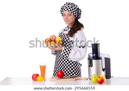 Female chef with fruits isolated on white - stock photo