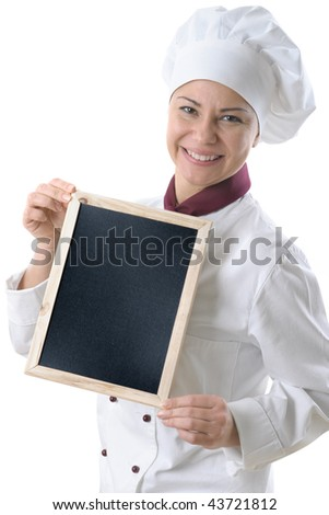 female chef with menu blackboard isolated over white - stock photo