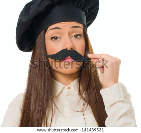 Female Chef With Mustache Isolated Over White Background - stock photo