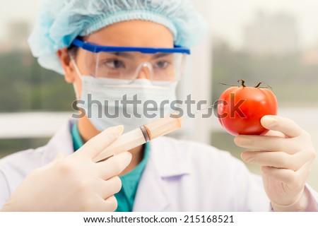 Female chemist injecting ripe tomato - stock photo