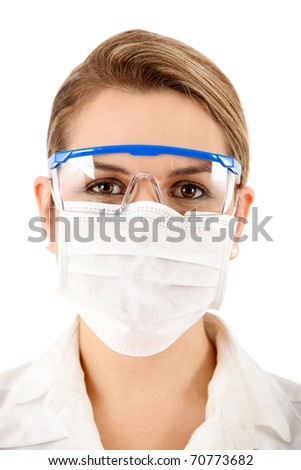 Female chemist using glasses and face mask - isolated over a white background - stock photo