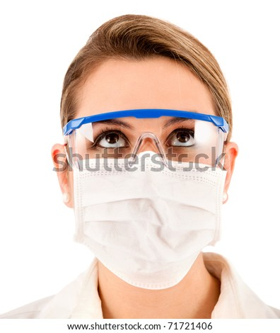 Female chemist using glasses and facemask - isolated over a white background - stock photo