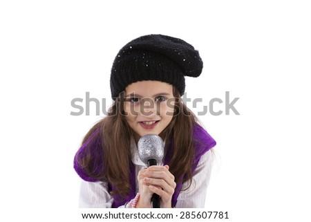 Female child singing - stock photo