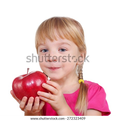 female child with a big red apple isolated on white background - stock photo