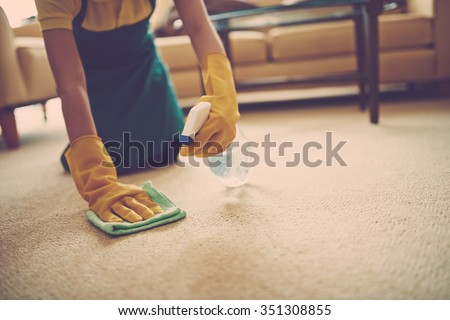 Female cleaner using spray stains remover - stock photo
