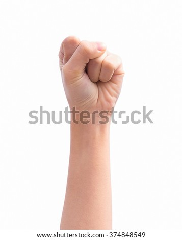Female clenched fist, isolated on a white background woman hand with a fist.