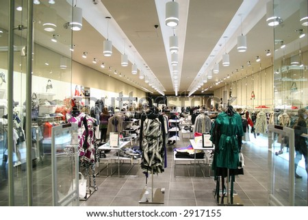 female clothes in shop - stock photo