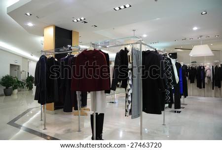 female clothing in shop - stock photo