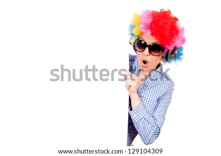 Female clown holding the blank white paper - stock photo