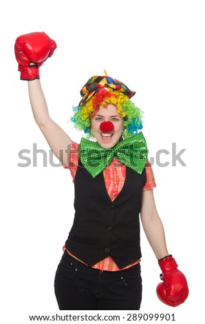 Female clown with box gloves  isolated on white