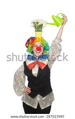 Female clown with flowers isolated on white