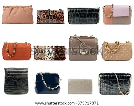 Female clutches collection isolated on white background.Front view. - stock photo