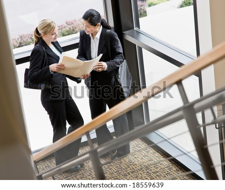 Female co-workers reviewing files together in corner of office building - stock photo