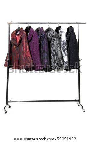 female coat clothing rack display - stock photo