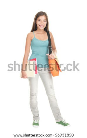 Female college student standing isolated on white background in full length. - stock photo