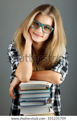 Female college student. Studio shot - stock photo