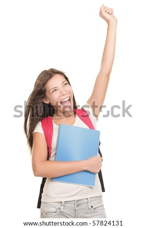 Female college university student celebrating excited. Isolated on white background. Mixed race Chinese Asian  / Caucasian woman model. - stock photo