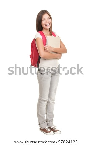 Female college university student standing isolated on white background in full length