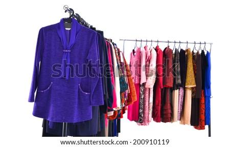 female colorful clothing ,sundress on display  - stock photo