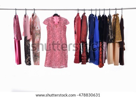 female colorful clothing ,sundress on hanging