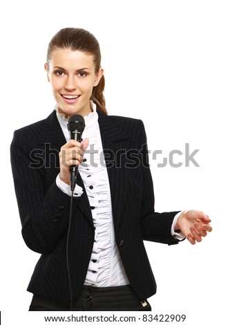 Female conference speaker isolated on white background
