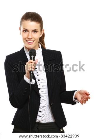 Female conference speaker isolated on white background - stock photo