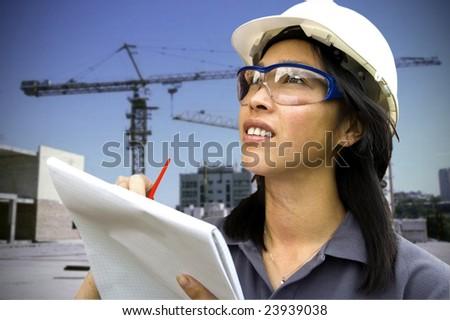 Female construction engineer - stock photo