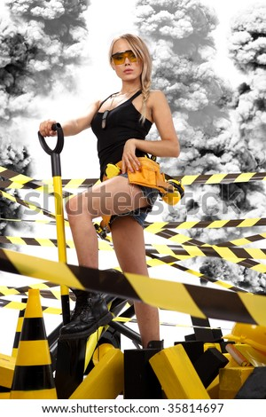 Female construction worker . Black and yellow concept.