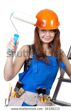 Female construction worker in a hard hat and tool belt on a white background