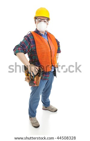 Female construction worker in full safety gear. Full body isolated on white. - stock photo