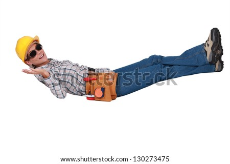 Female construction worker taking it easy