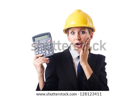 Female construction worker with calculator