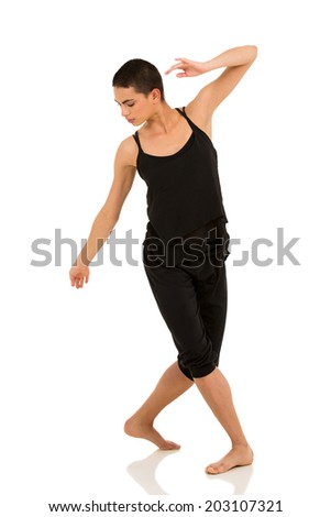 female contemporary dancer isolated on white background - stock photo